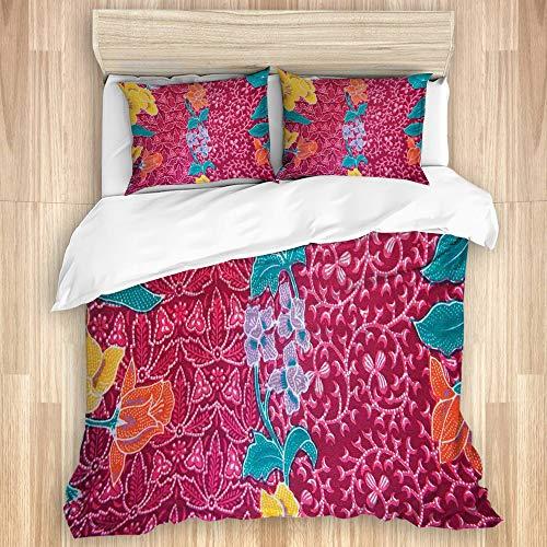 Juego de Funda de Edredón,Flores Coloridas en el Estilo del Batik balinés Impresión de Imagen Tradicional Oriental,Microfibra 1 Sábana de Cama 240x220 + 2 Fundas de Almohada 80x50,King