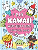 Big Kawaii Adventure Coloring Book: For Kids & Adults - 40 Cute and Fun, Animals, Unicorns, Dinosaurs, Space, Food, Pirates, Chibi Boys & Girls Plus More Themed Pages To Color.