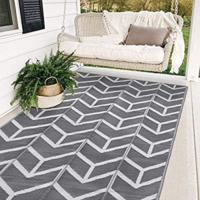 SAND MINE Reversible Mats, Plastic Straw Rug, Modern Area Rug, Large Floor Mat and Rug for Outdoors, RV, Patio, Backyard, Deck, Picnic, Beach, Trailer, Camping (5' x 8', Grey Arrow) by SAND MINE