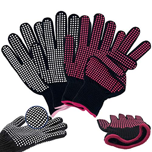 Lifreer Hitzebeständige Handschuhe, hitzebeständige Handschuhe, Schutzhandschuhe, Heizhandschuhe, hitzebeständiger Handschuh für Lockenstab, Lockenstab, Haarstyling (Rosarot und Weiß)