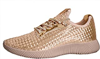 ROXY-ROSE Women Lightweight Metallic Hologram Laced Pyramid Leatherette Studded Jogger Casual Sneaker