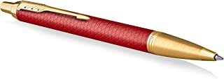 Parker IM Ballpoint Pen   Premium Red Lacquer with Gold Trim   Medium Point with Blue Ink Refill   Gift Box