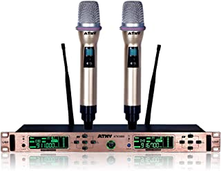 ATNY ATX3000 UHF Handheld Wireless Microphone System – Dual Channel with LCD Display and 2 Mics, Includes Noise-Lock Technology and 5-Second Auto-Off Function (UHF Dual Channel, Rose Gold)