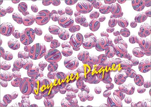 Set van 5 Franse paaskaart met vele gemarmerde roze eieren: Joyeuse Pâques.