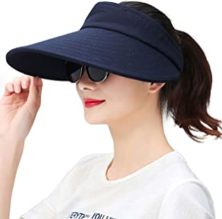 Wide Brim Sun Visors for Women Packable Sun Hat Beach Golf Gardening Topless-Hat