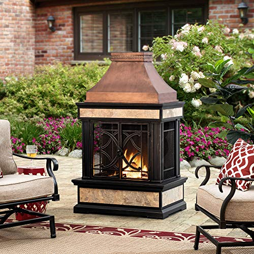 Sunjoy Smith Collection Slate Wood Burning Fireplace, Copper