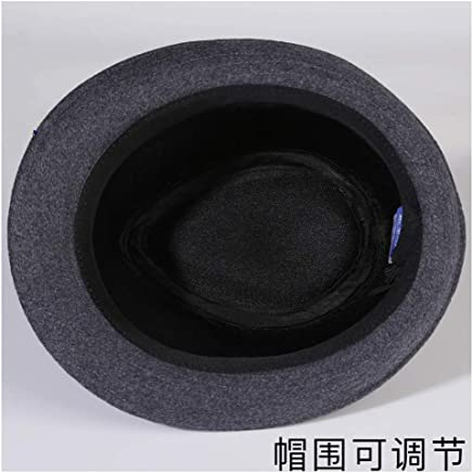 2019 Women Hat Male Winter Wool Warm Black Fedora Ladies Winter Fashion Tide Korean Version of The Pure Color Felt Hat Jazz Hat (Color : Gray, Size : 56-58CM)