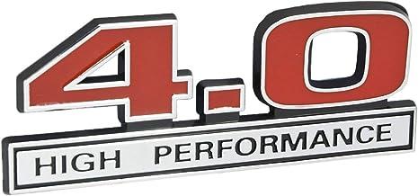 "4.0 Liter V6 High Performance Engine Emblem in Chrome & Red - 5"" Long"