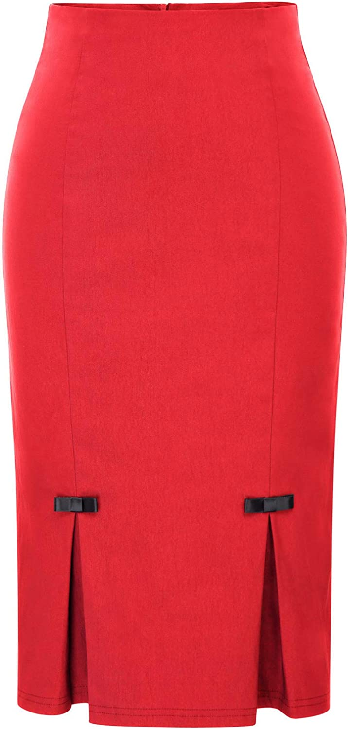Belle Poque Women Midi High Waist Office Stretchy Pencil Skirt with Bow-Knot BP587