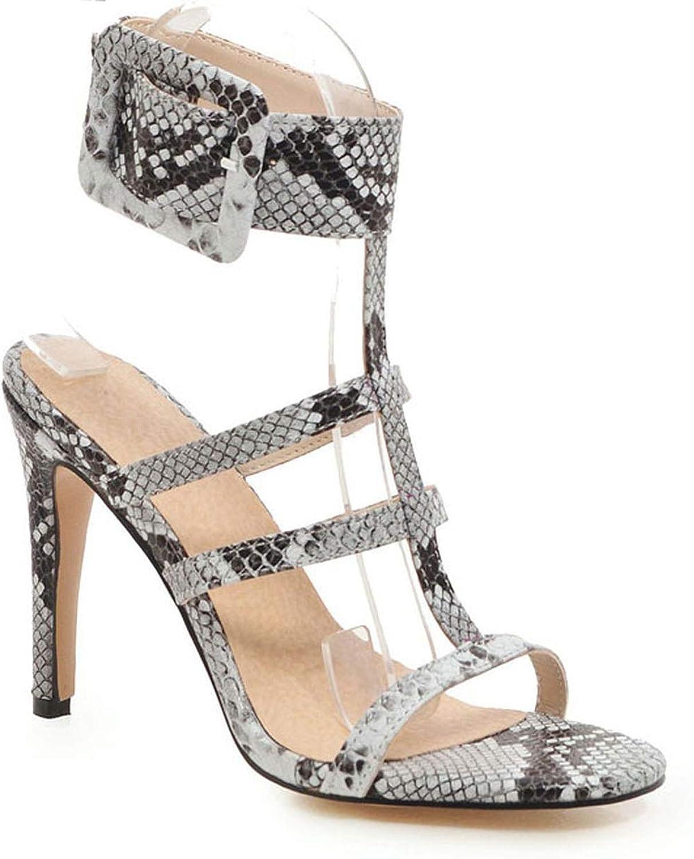 Women Sandals High Heels Summer Pointed Toe Buckle Snake Prints Thin Heels Sandalie