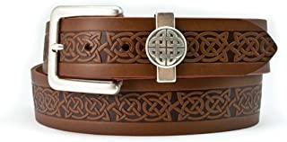 40mm Genuine Brown Leather Belt with a Celtic Design and a Celtic Loop