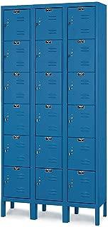 Hallowell U3258-6MB Marine Blue Steel Premium Box Locker, 3 Wide with 18 Opening, 6 Tier, 36