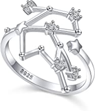 Flyow 925 Sterling Silver CZ Horoscope Zodiac 12 Constellation Astrology Adjustable Statement Ring for Women Teen Girls Birthday Gift,Size 7