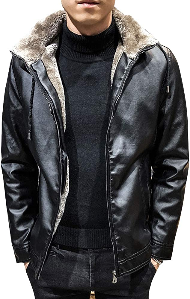 EVEDESIGN Men's Winter Warm Shearling Fleec Jacket Thick Leather List Product price