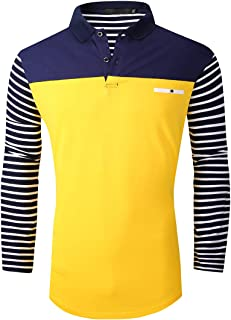 FRTCV Polo Shirts for Men Long Sleeve Casual Fit Golf T-Shirts