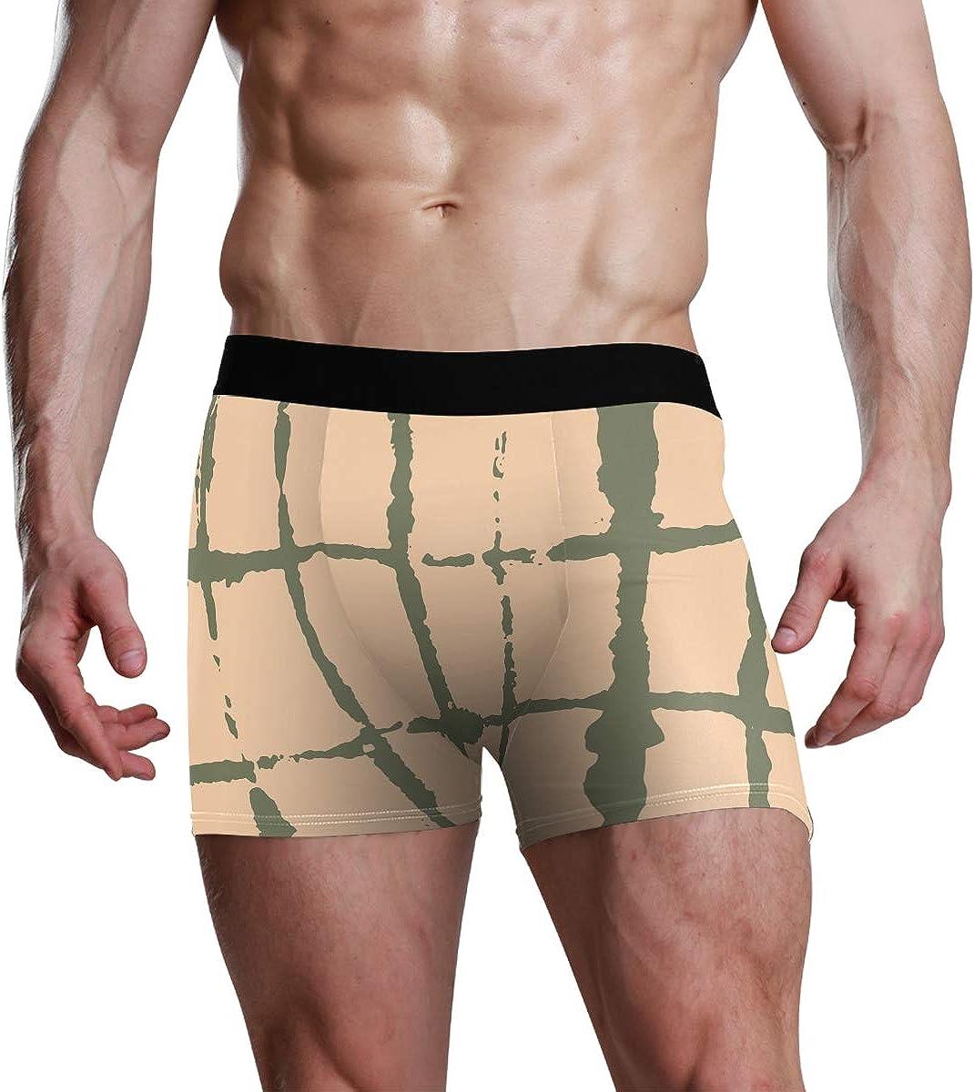 HangWang Mens Boxer Briefs Japanese Kimono Vector Seamless Pattern Low Rise Trunks Underwear Breathable Bikini Boys