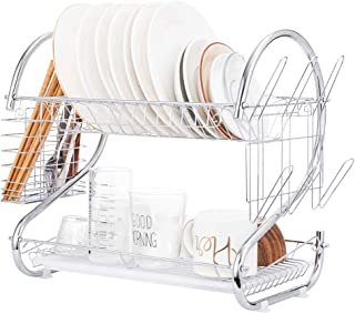 Dish Drying Rack, FIRECOW 2 Tier Dish Rack with Utensil Holder, Cutting Board Holder and Dish Drainer for Kitchen Counter Top, Plated Chrome Dish Dryer Silver 17.0 X 9.7 X 14.6 inch