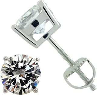 925 Sterling Silver Round Solitaire Cz Screw Back Stud Earrings Rhodium Plated