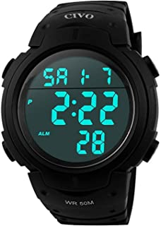 CIVO Mens Boys Watches Analogue Digital 50M Waterproof Military Sport Watch Men Big Face Dual Dial Multifunction LCD Back Light Electronic Shock Resistant Business Casual Wrist Watches Black