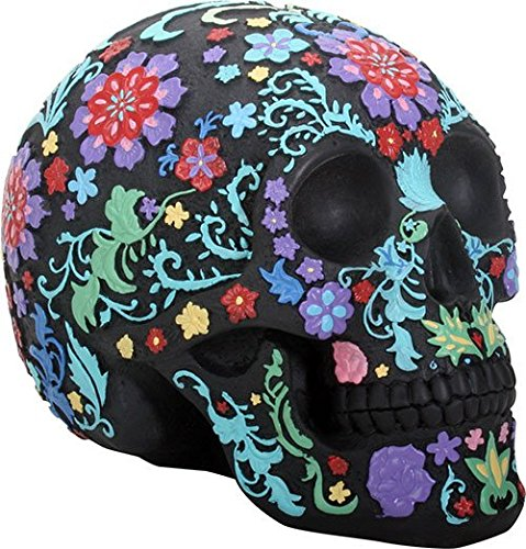 Day of The Dead DOD Engraved Colored Floral Skull Halloween Black Colorful Figurine