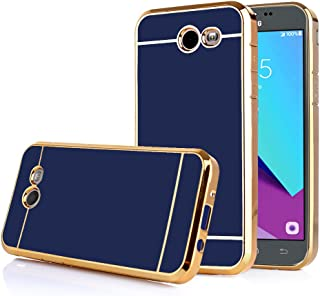 TabPow Galaxy J3 Emerge Case, Electroplate Slim Glossy Finish, Drop Protection, Shiny Luxury Case for Samsung Galaxy J3 Prime/Galaxy J3 Emerge/Amp Prime 2-Royal Blue Gold