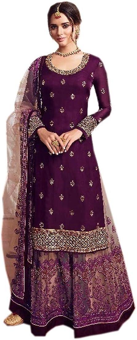 9290 Purple Indian Semi Stitched Satin Georgette Suit Net Lehenga Salwar Kameez Party Wedding Women