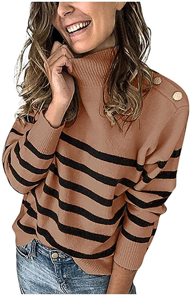 Gibobby Sweaters for Women,Women's Long Sleeve Cowl Neck Striped Color Block Casual Loose Knitted Pullover Sweater Tops