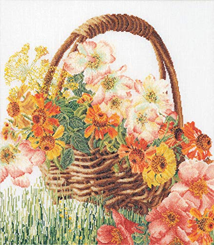 Thea Gouverneur - Kit de Punto de Cruz Contado - 3064A - Hilos DMC Preseleccionados - Canasta de flores - Aida - 35cm x 39cm - Kit de Bricolaje