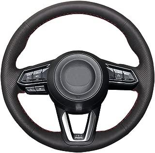 Eiseng DIY Black Genuine Leather Steering Wheel Cover Custom Fit for 2017 2018 Mazda 3/2017 2018 2019 Mazda CX-5 Mazda 6/2016-2019 Mazda CX-9/2019 CX-315inches Interior Accessories (Red Thread)