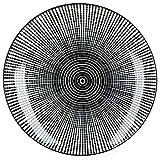 MamboCat Taipei 18-TLG. Teller-Set I Steingut-Geschirr für 6 Personen - modernes schwarz-weiß-Design I je 6X Flache Speiseteller - Tiefe Suppenteller - kleine Kuchenteller I Teller-Service 18 Teile - 2