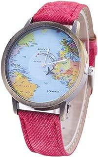 ETbotu Reloj de cuarzo con diseño de mapa del mundo