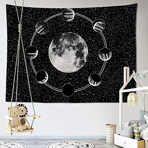 KHKJ Tapiz psicodélico Estampado de Luna Colgante de Pared brujería Hippie Tapiz de Pared Alfombra de Pared decoración Boho decoración del hogar A5 95x73 cm