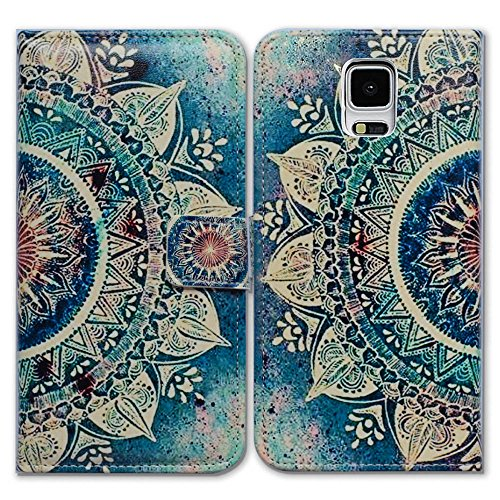 Galaxy S5 Case,Bcov Green Circular Mandala Wallet Flip Leather Cover Case with Credit Card Slot ID Card Holder Kickstand for Samsung Galaxy S5