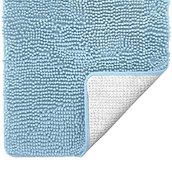 Gorilla Grip Original Luxury Chenille Bathroom Rug Mat Extra Soft and Absorbent Shaggy Rugs Machine Washable Quick Dry Bathmat Plush Carpet for Tub Shower and Bath Room Floor Mats 17x24 Sky