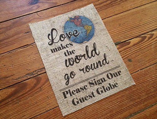 "Burlap ""Please Sign Our Guest Globe"" - Guestbook Alternative - Travel Theme Wedding Decor - Marriage Decor on Burlap - Rustic Wedding"