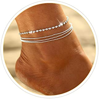 Simsly 2pcs Anklet Bracelet with Rhinestone Beach Beaded Ankle Foot Chain for Women and Girls .2PCS(Silver)