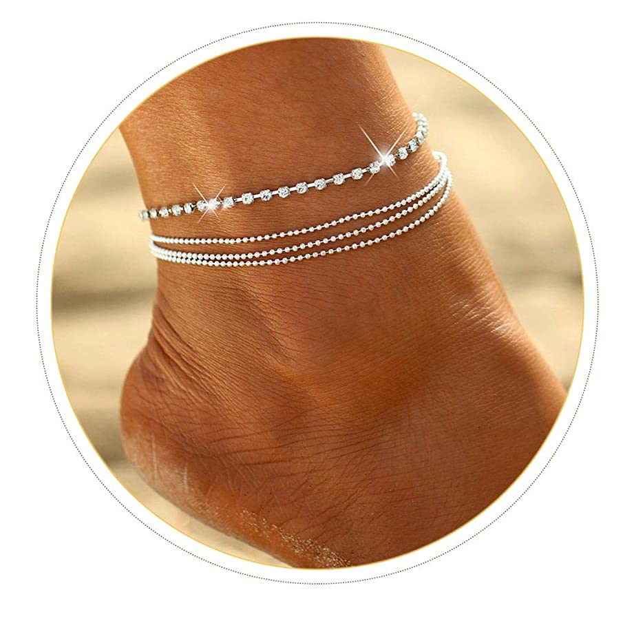Simsly Anklet Bracelet with Rhinestone Beach Beaded Ankle Foot Chain for Women and Girls JL-0142 (Silver)