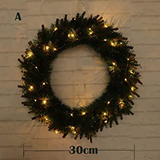 OHQ 30/40/50cm DIY LED Colgando Corona Adorno De Navidad DecoracióN De La