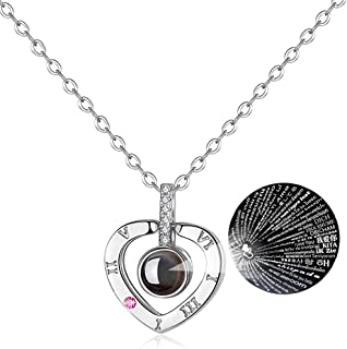 Necklace That Says I Love You in 100 Languages 100 Different Ways Rose Gold I Love You Necklace in 100 Languages Xmas Gift V-Day Present Necklaces for Girlfriend Wife Lover