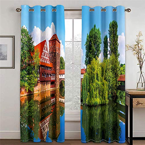 ZXDYLY Curtains Blackout 28.54x96.46 Inch 2 Panels Eyelet Curtains for Livingroom, Printed Curtain Room Darkening Bedroom, Grommet Panel Kitchen Window Curtain, Lake View House