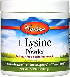 Carlson - L-Lysine Powder, Free-Form Amino Acid, 960 mg, Supports Healthy Tissue & Muscle Development, 3.53 oz (100 g)