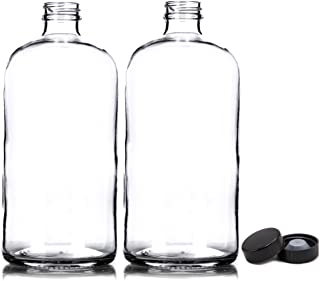 2 Pack ~ 32oz Growler ~ Clear Glass with PolyCone Phenolic Lid for a Tight Seal - Perfect for Secondary Fermentation and Storing Kombucha