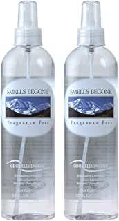 Smells Begone Air Freshener Spray - Odor Eliminator - Eliminates Odors from Smoke, Trash Cans, Cars, Pets and Boats - Non-Toxic and Non-Staining - Fragrance Free (2 Pack 12 Ounce)