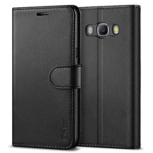 Vakoo PU-Leder Schutzhülle Kompatibel mit Samsung Galaxy J5 2016 Hülle, Brieftasche Handyhülle für Samsung Galaxy J5 2016 - Schwarz