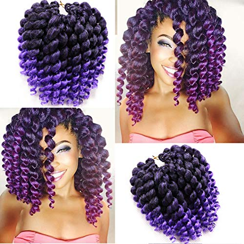 8 Inch 22 Strands 4 Packs Jumpy Wand Curls Crochet Hair Jamaican Bounce Crochet Hair Curly Crochet Braids Curly Crochet Hair Crochet Braiding Hair (8 Inch 4 Packs, T1B-Purple)