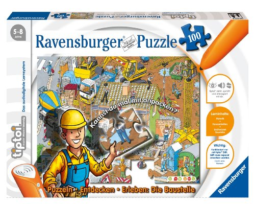 Ravensburger 00517 - tiptoi®: Puzzlen, Entdecken, Erleben - Baustelle - 100 Teile Puzzle (ohne Stift)