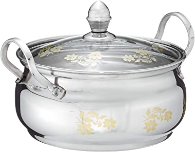 Praylady Imperial Stock Pot with Glass Lid and Gold Print, 17 cm, Silver