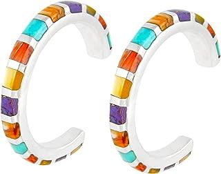 Turquoise Hoop Earrings Sterling Silver & Genuine Gemstones