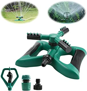 Yokunat 360 ° - Sistema de riego de agua para jardín con 3 brazos giratorios con 2 modos de boquilla Verde