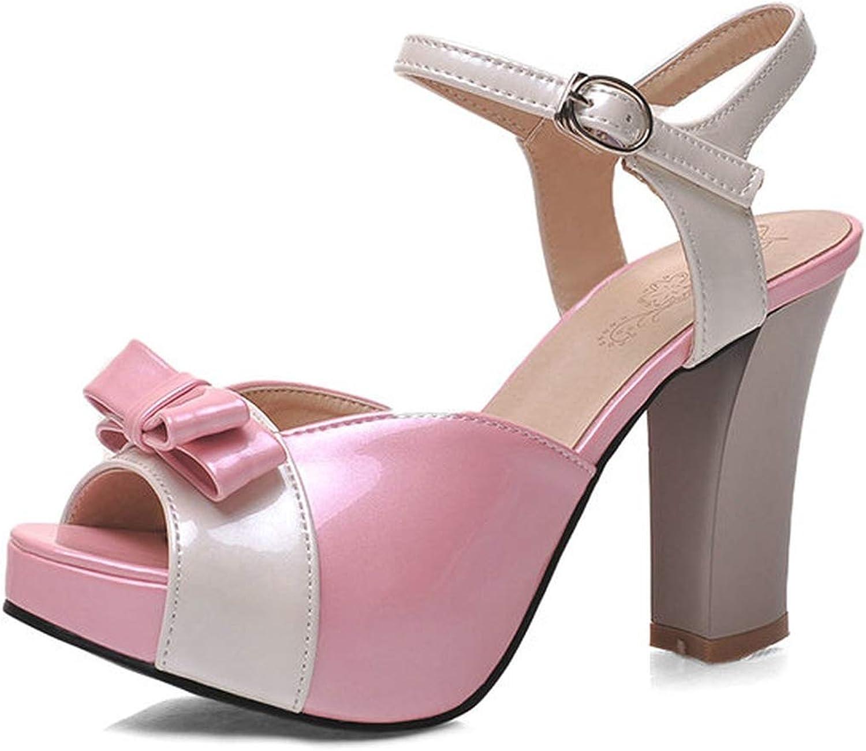 Mo Duo 2019 New Women Sandals high Heels Platform Sandals Women Ladies Summer shoes,Pink,6
